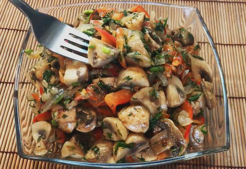 Вкуснейший салат из шампиньонов по-корейски