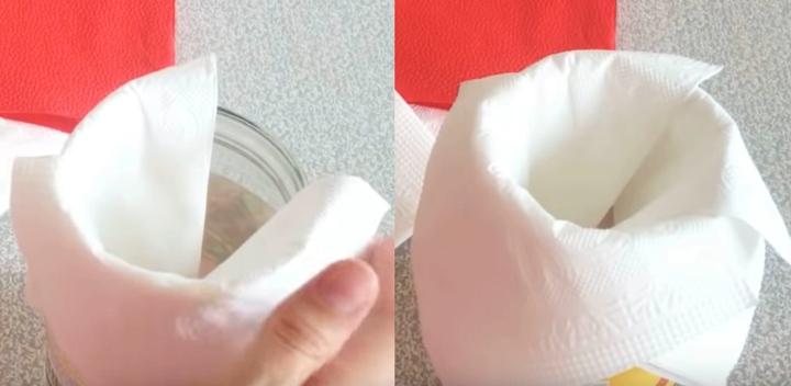 Роза из салфеток за 30 секунд с помощью обычной банки